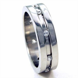Mens Stainless Steel Mini Cz Accent Ring