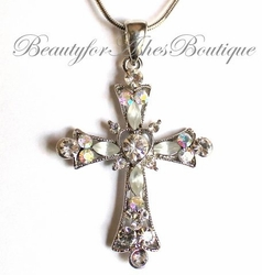Aurora Borealis Austrian Crystal Cross Necklace