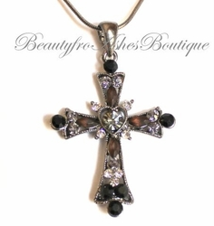 GIRLS WOMENS HEMATITE AUSTRIAN CRYSTAL CROSS NECKLACE