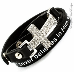 JOHN 3:16 Scripture Wrap Around Black Crystal Cross Bracelet