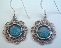 Israeli roman glass earrings floral design