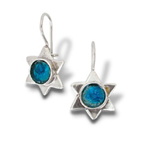 Roman glass silver earrings, Israeli roman glass earrings, star of David