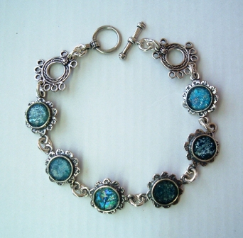 Roman glass sterling silver bracelet