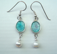 Israeli roman glass earrings sterling silver genuine roman glass
