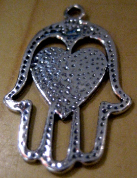 Hamsa with heart pendants