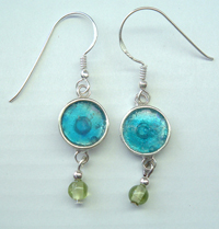 Roman glass sterling silver perridot earrings Israeli handmade
