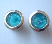Israeli roman glass stud earrings silver jewelry