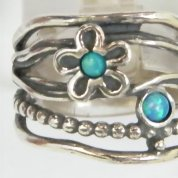 Silver jewelry   Silver ring   Opal ring  Flower ring