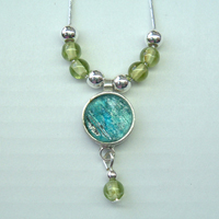 Roman glass necklace perridot