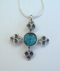 Sterling silver and roman glass cross