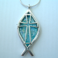 Pendant christian cross on a fish roman glass