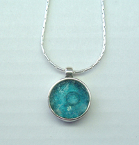Roman glass delicate necklace sterling silver