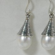 Israeli Silver earrings | dangle earrings |pearl earrings