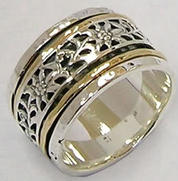 Designer ring silver and gold unique wedding ring