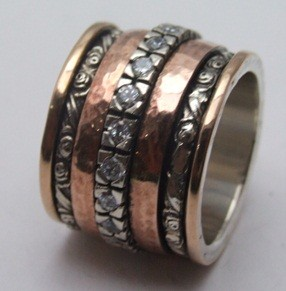 Spinner ring silver and gold zircons meditation ring