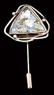 Roman glass stick pin Israeli jewelry sterling silver