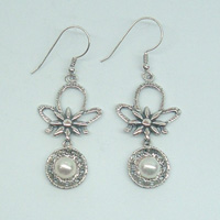 Silver earrings | sterling silver & pearls | dangling earrings