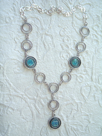Roman Glass necklace sterling silver