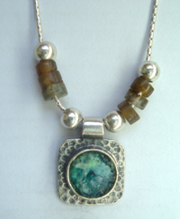 Silver roman glass necklace , labradorite necklace