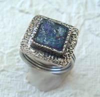 Roman Glass ring sterling silver jewelry