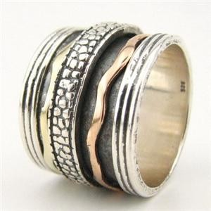 Israeli spinning ring silver and gold swivel ring - Meditation ring