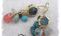 dangling earrings  9 ct gold silver unakite, 9k gold, silver, turquoise, aquamarine, cherry quartz.