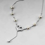 Heart sterling Silver Necklace with Pearls