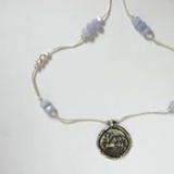 Silver Necklace  old coin motif pendant blue lace agate stones