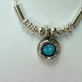 Silver Necklace blue opal pendant