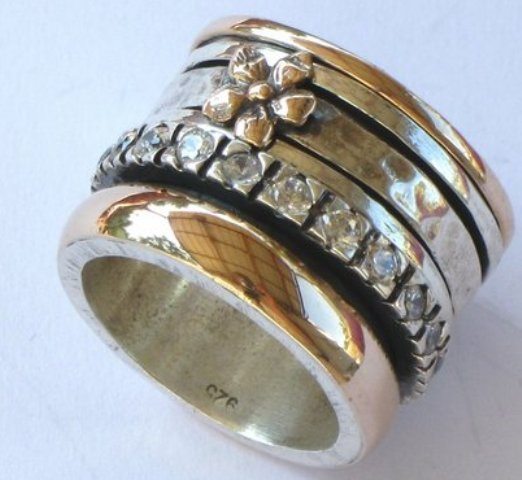 Sterling silver and 9 carat gold designer ring Made in Israel jewelry