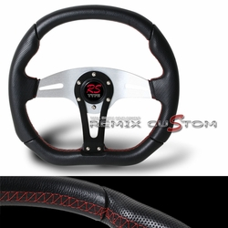 Universal 350mm Steering Wheel 350mm Black with Red Stitches