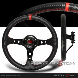 Deep Dish Carbon PVC Leather Steering Wheel w/ Red Stitches