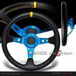 Blue Devil Drift Deep Dish Carbon PVC Yellow Stitches Steering Wheel