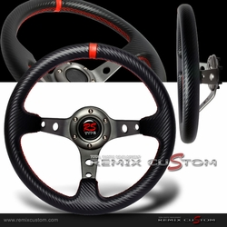 Carbon PVC Gunmetal Red Stitches Drift Deep Dish Steering Wheel
