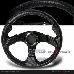 Carbon PVC Leather Black Stitches Steering Wheel