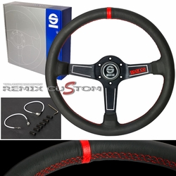 SPACO 350mm Deep Dish Red Stitches Steering Wheel