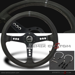 Spaco 350mm Straight Black with White Stitches Steering Wheel