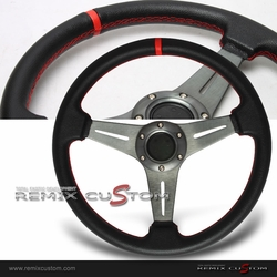 Universal Drift Gunmetal Red Stiches Racing Steering Wheel