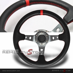 Universal Drift Deep Dish Gunmetal Red Stiches Racing Steering Wheel