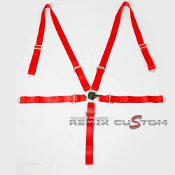 "Universal 5 Point Join Camlock 2"" Racing Seat Belt Red"