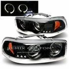00-06 GMC Denali / Sierra / Yukon Dual Halo LED Projector Headlights - Black