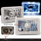 "Universal 4"" x 6"" Halo Rim white LED Headlights with Super White H4 Bulbs"