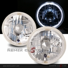 "Universal 7"" Halo Rim Round Lamp with H4 Super White Bulbs"