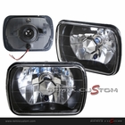 "7"" x 6"" Universal Black Chrome Headlights with H4 Super White Bulbs"