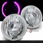 "Universal 7"" Round SMDx36 DRL Purple LED Projector Headlights with H4 Bulbs"