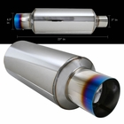 "Universal 3"" Inlet 4.5"" Tip Stainless Exhaust Burnt Tip Muffler"