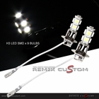 H3 SMDx9  Super White LED Xenon Light Bulbs ( set of 2 )