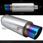 "Universal RS Type 2.5"" Inlet / Outlet 4"" Flat Tip Burnt Tip Muffler w/ Silencer"