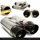 Universal N1 Type Dual Slant Carbon Tips Muffler with Silencer