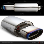 "Universal  Square Euro Type 2.5"" Inlet Burnt Tip Oval Muffler"